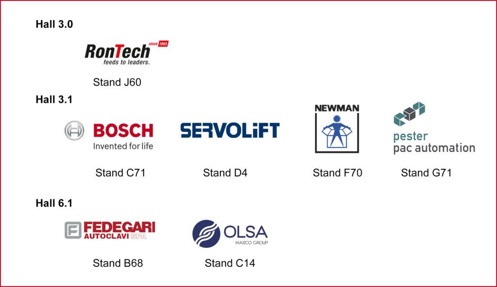 Rontech, Bosch packaging technology, servolift, newman, pester pac automation, fedegari, olsa
